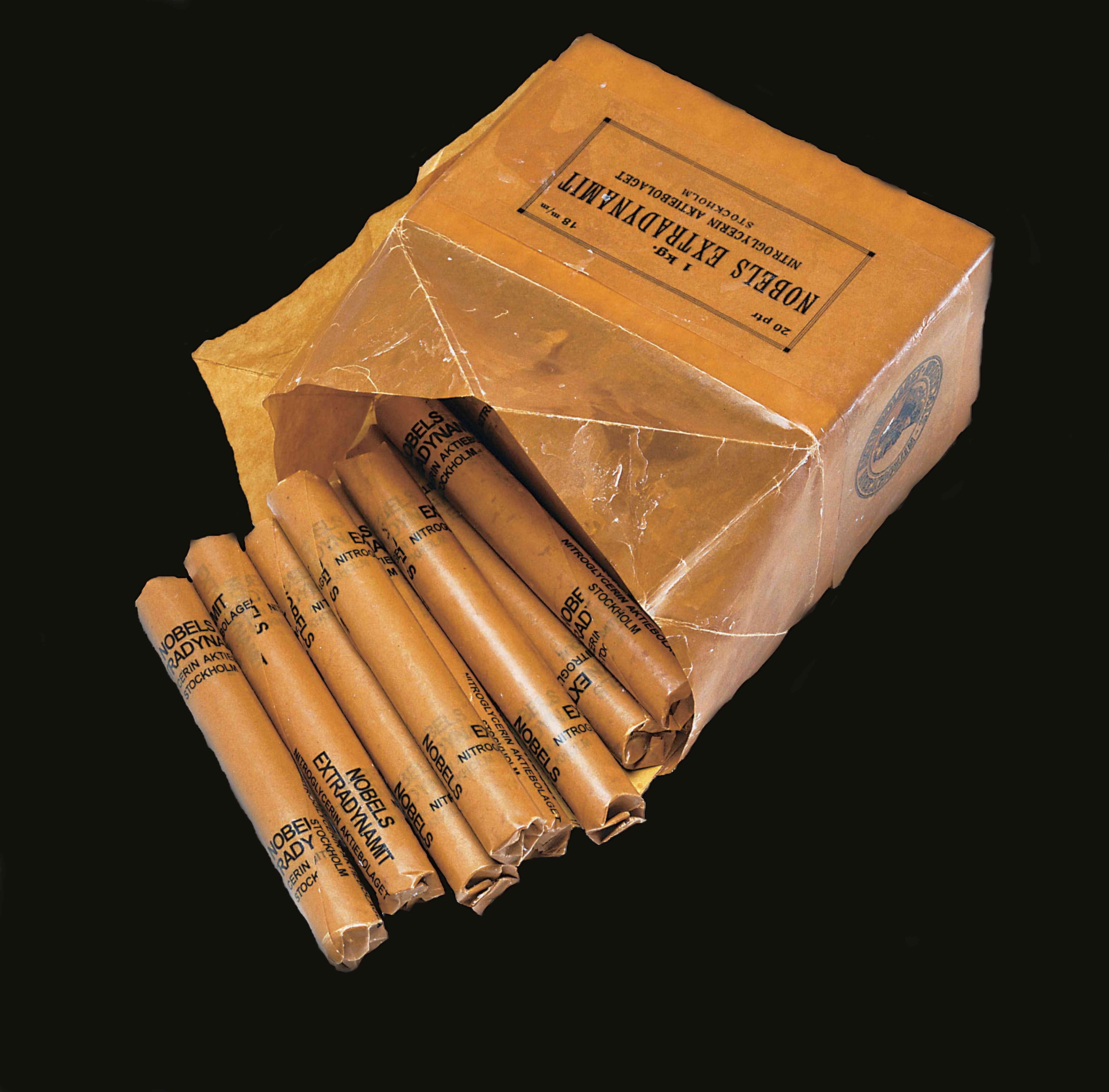 Box containing several sticks of Alfred Nobel's Extradynamit dynamite