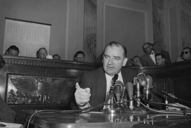 photo of Senator Joseph McCarthy gesturing at a Senate hearing