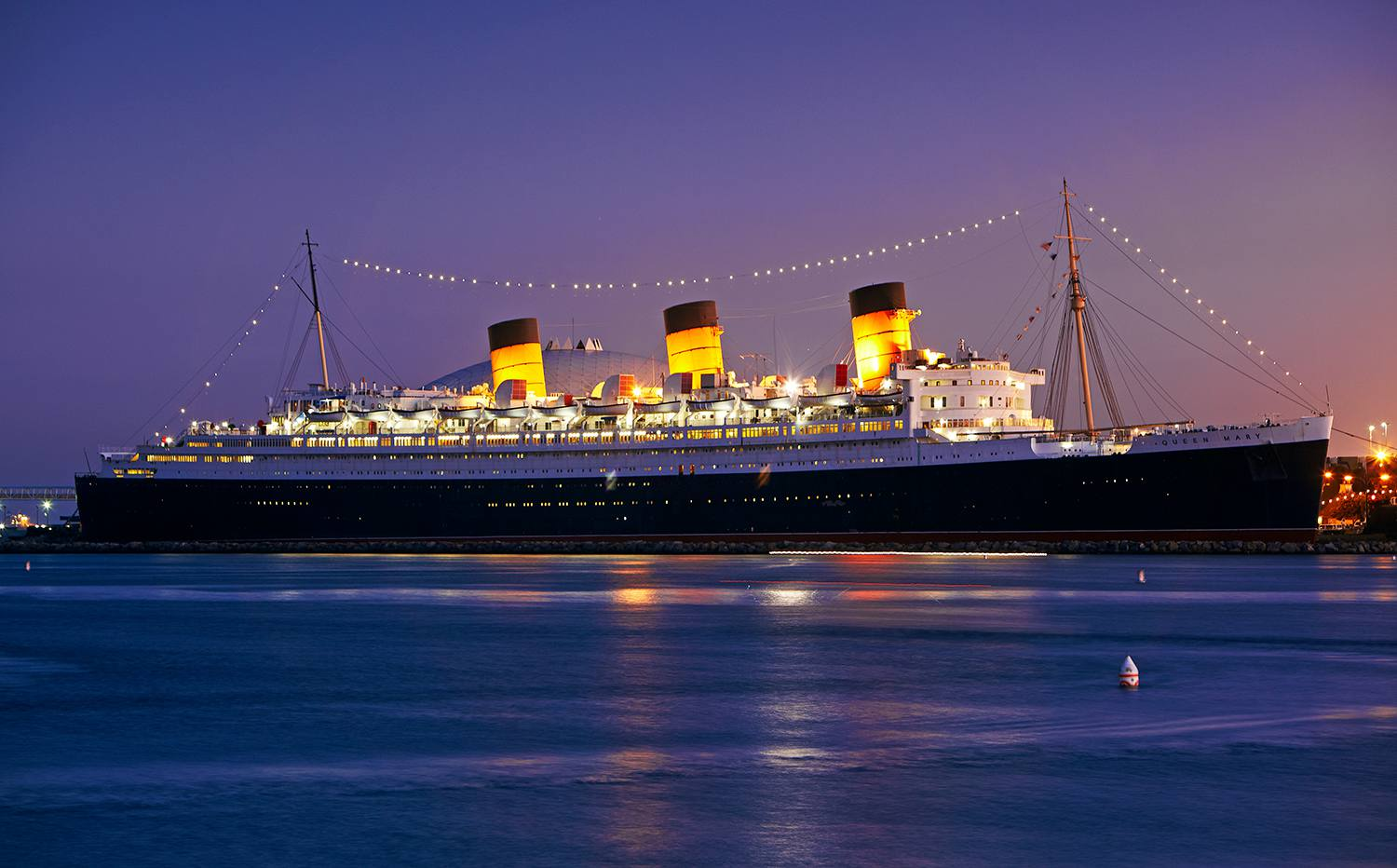 A 1936 art deco ocean liner now permanently docked at Long Beach harbor.