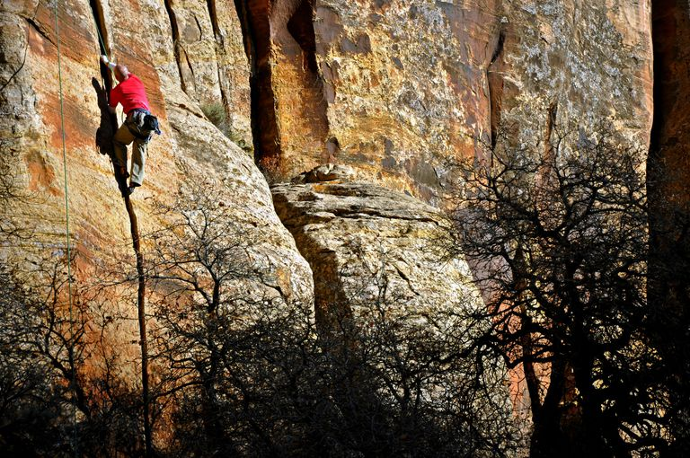 Bill Springer jams a practice crack at Indian Creek Canyon in Utah.