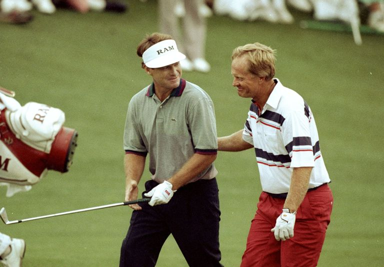 Tom Watson and Jack Nicklaus of the USA share a joke during the 1991 Masters at the Augusta National Golf Club in Georgia