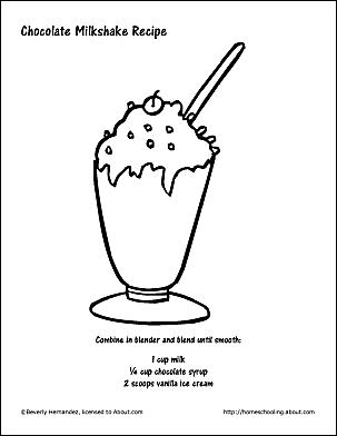 Chocolate Milkshake Recipe And Coloring Page