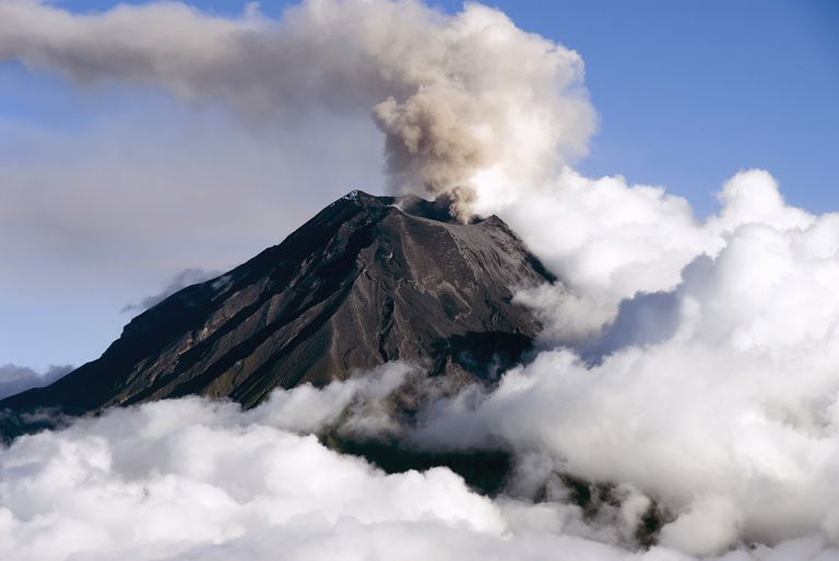 A smoking volcano, a fascinating geological phenomenon