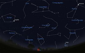 Star chart of constellations and asterisms