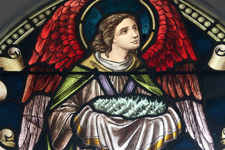 Stained glass window of Angel with Jesus' crown of thorns.