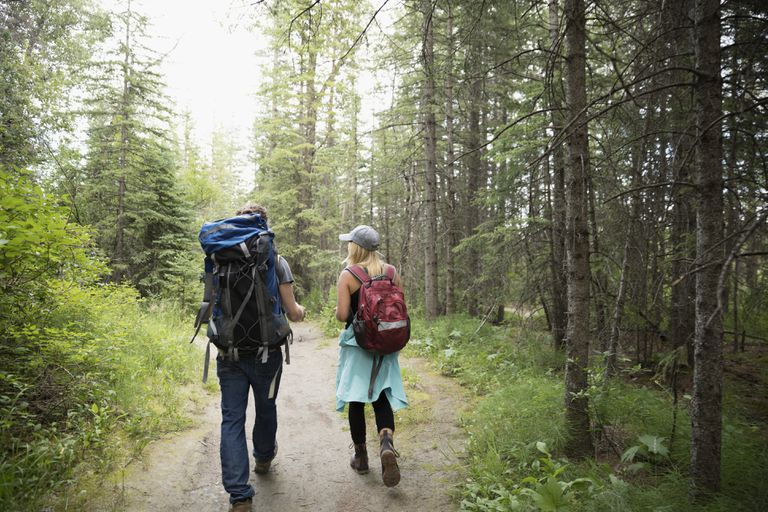 Couple with backpacks backpacking, hiking on trail in woods among trees