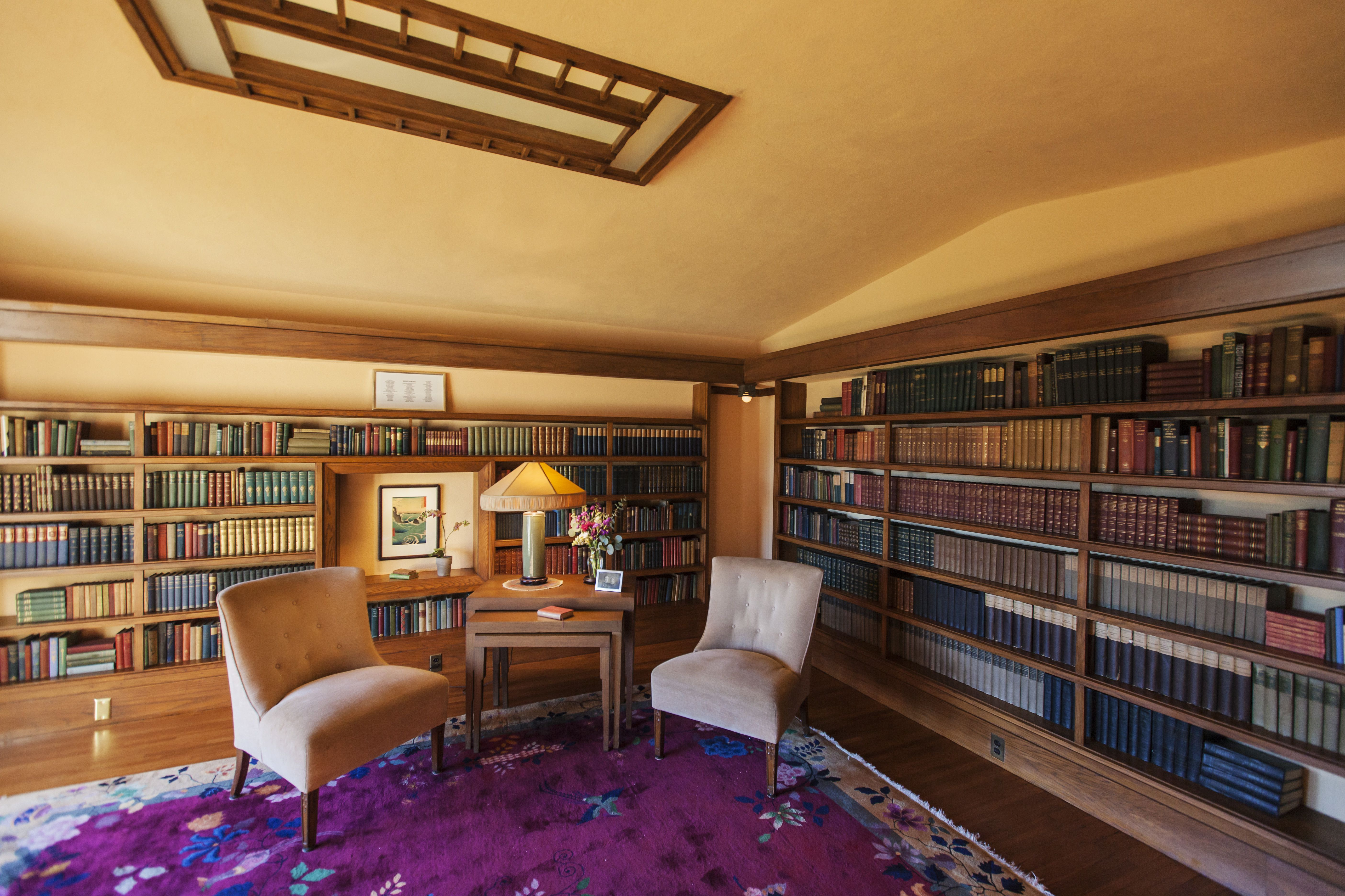 Interior library of Frank Lloyd Wright's Hollyhock House, 1921, built for Aline Barnsdall in southern California