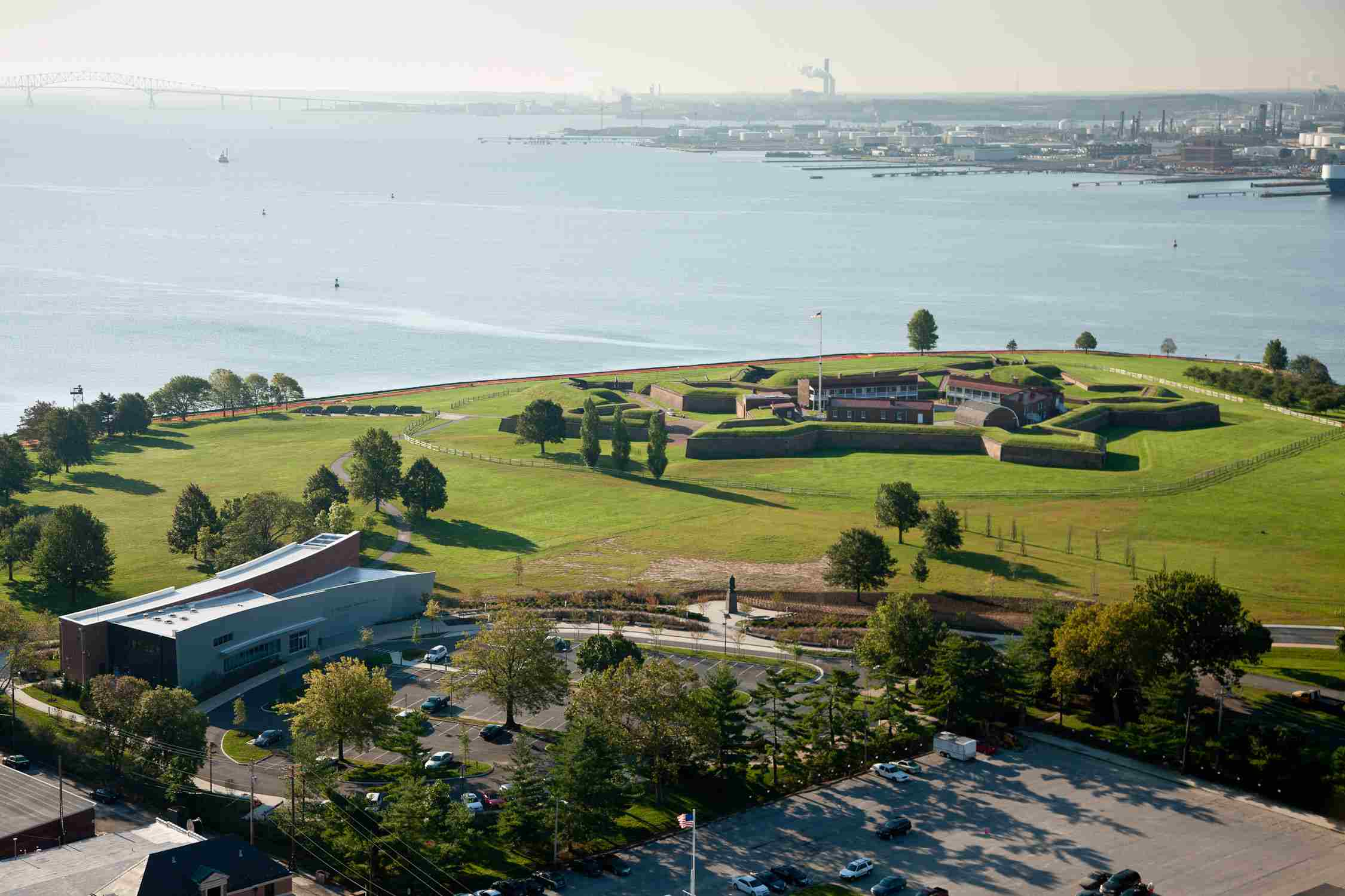 A modern aerial view of Fort McHenry