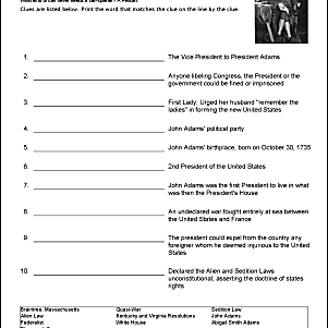 John Adams Wordsearch, Worksheets, Coloring Pages