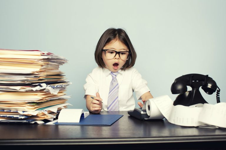child working in an office