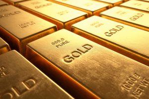 Gold bars close up.