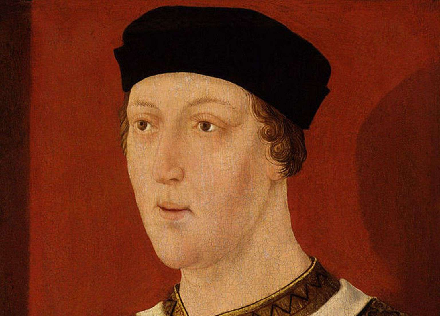 Portrait of King Henry VI of England wearing a black hat.