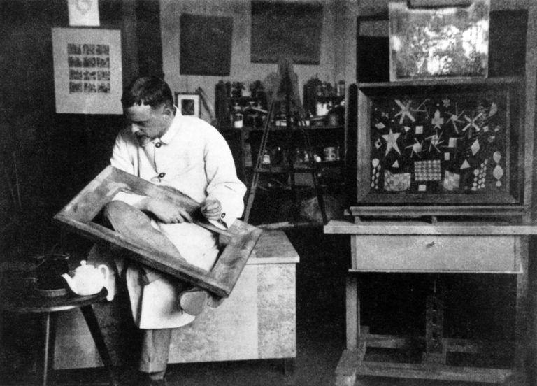 Paul Klee - portrait of the German / Swiss artist & painter at his Bauhaus Studio in Weimar, Germany, 1924.