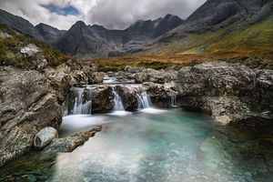 """The Polk surname derives from a Scottish word meaning """"pool,"""" such as these fairy pools in Scotland."""