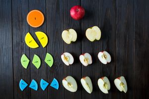colorful math fractions and apples
