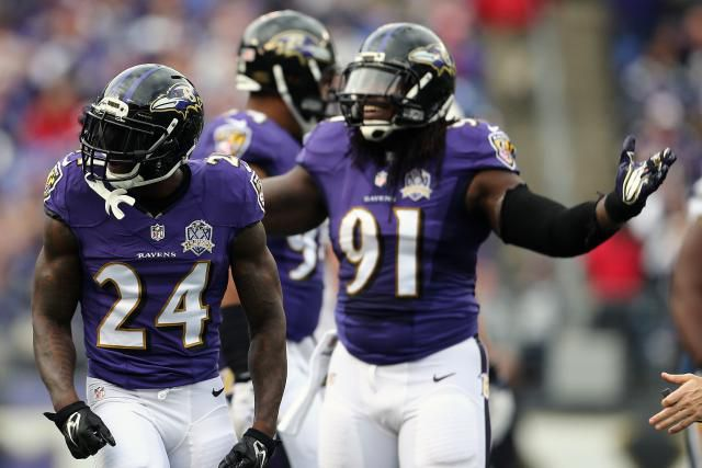 Defensive back Kyle Arrington #24 of the Baltimore Ravens and outside linebacker Courtney Upshaw #91 of the Baltimore Ravens react to a pass interference call in the second quarter of a game against the San Diego Chargers at M&T Bank Stadium on November 1, 2015 in Baltimore, Maryland. Defensive back Kyle Arrington #24 of the Baltimore Ravens and outside linebacker Courtney Upshaw #91 of the Baltimore Ravens react to a pass interference call in the second quarter of a game against the San Diego Chargers at M&T Bank Stadium on November 1, 2015 in Baltimore, Maryland.