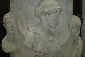 The Moon-goddess Selene accompanied by the Dioscuri.