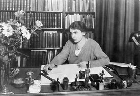 Psychiatrist Anna Freud at Her Desk