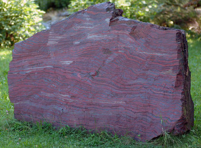 Banded iron formation of black iron minerals and red-brown chert