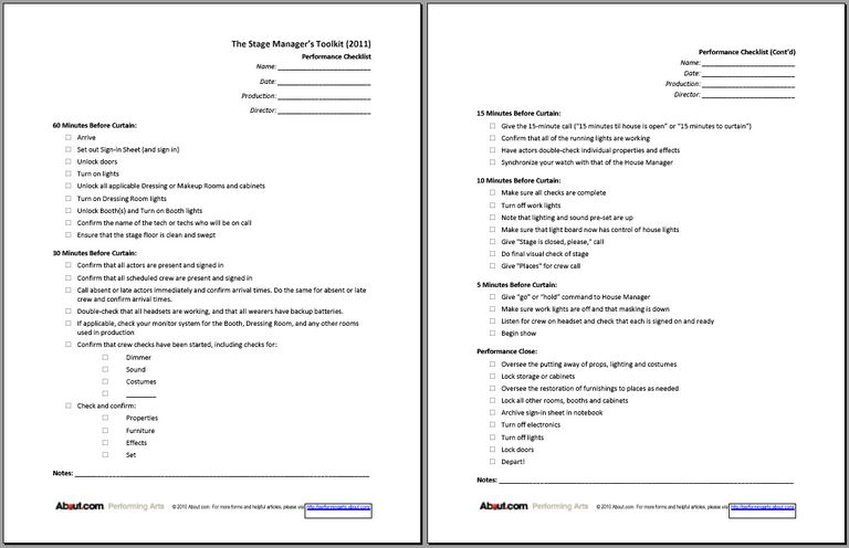 Stage Managers Forms: Checklists to Sign-In Sheets on custom order form, upholstery order form, painting order form,