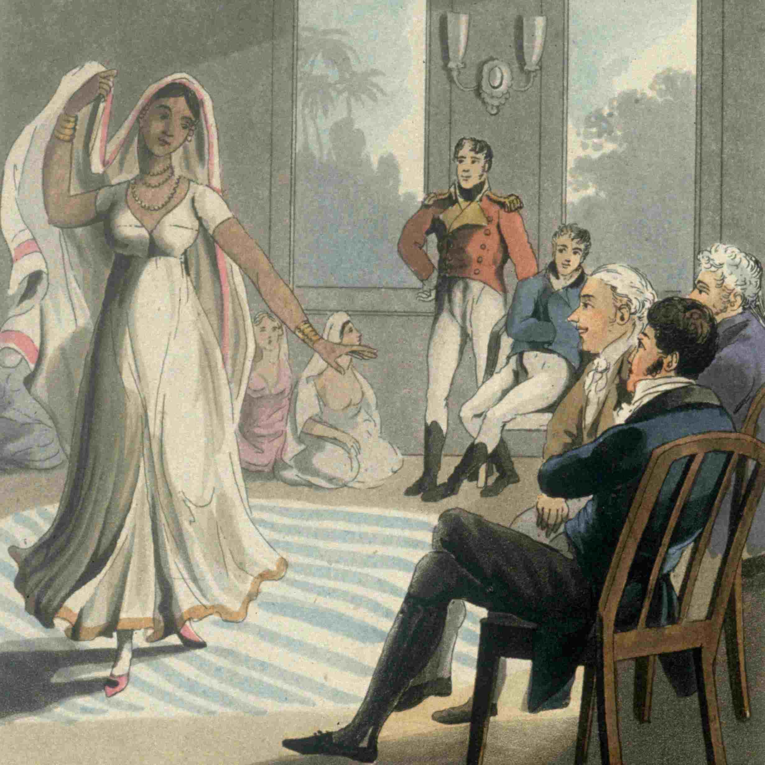 A dancing woman entertaining Europeans