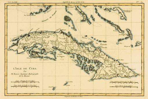 Map Of Cuba Circa. 1760. From 'Atlas De Toutes Les Parties Connues Du Globe Terrestre ' By Cartographer Rigobert Bonne.
