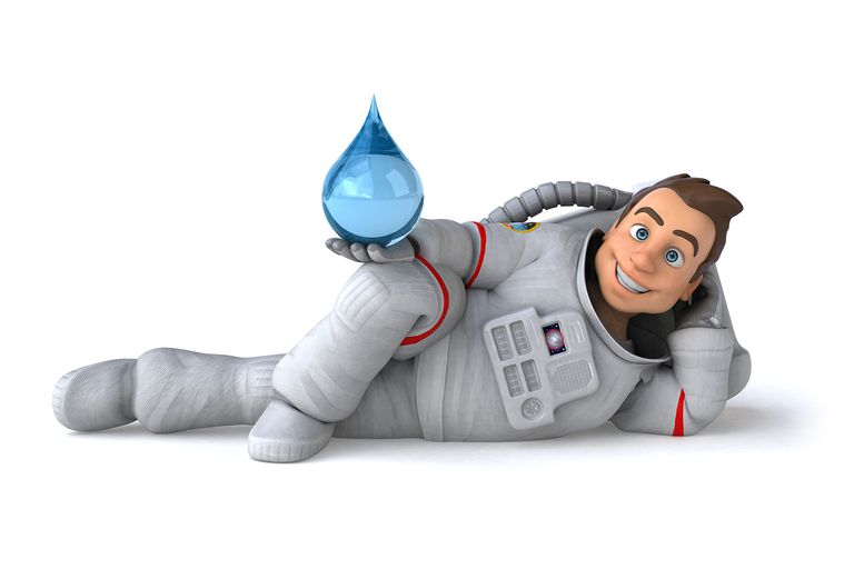 Astronaut holding water