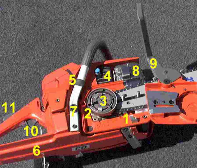 Chainsaw with numbered parts