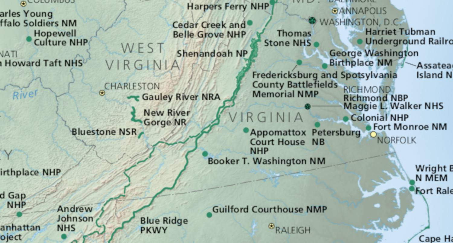 Map of the National Parks in Virginia