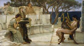 Painting of Sappho and Alcaeus of Mytilene, by Lawrence Alma-Tadema