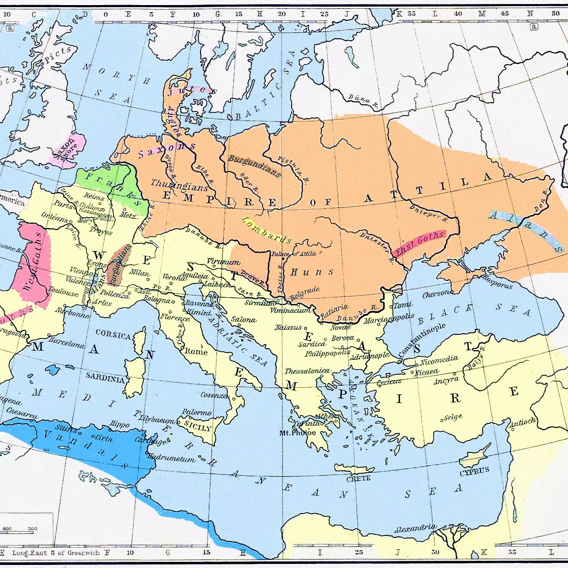 what effect did the huns have on europe Political Map of Europe 1200