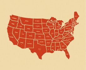Map of America and its 50 states