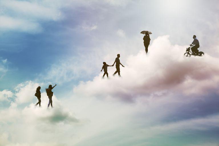 People walking on the cloud