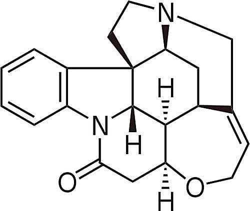 Esta es la estructura química de la estricnina.