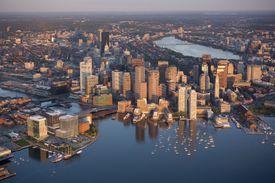 harbor skyline aerial Boston Fan Pier