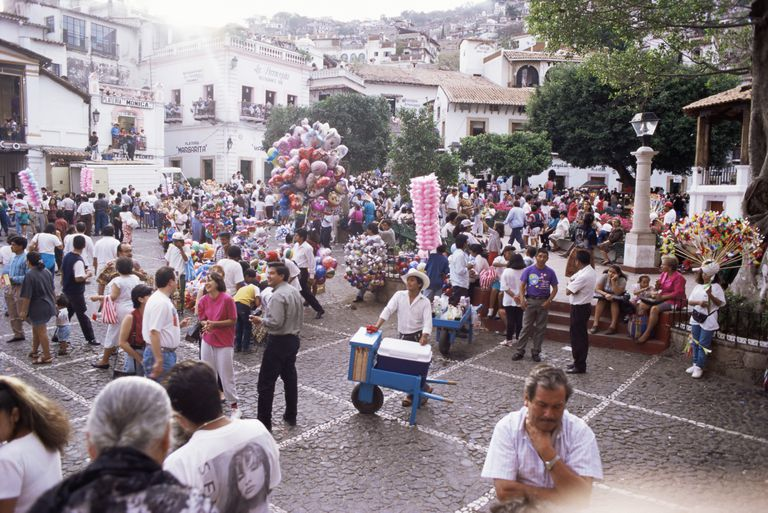 Crowds during Easter celebrations in Taxco, Mexico