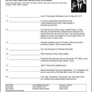John F. Kennedy Vocabulary Worksheet