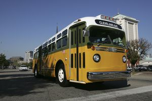 A replica of the bus that civil rights activist Rosa Parks rode on.