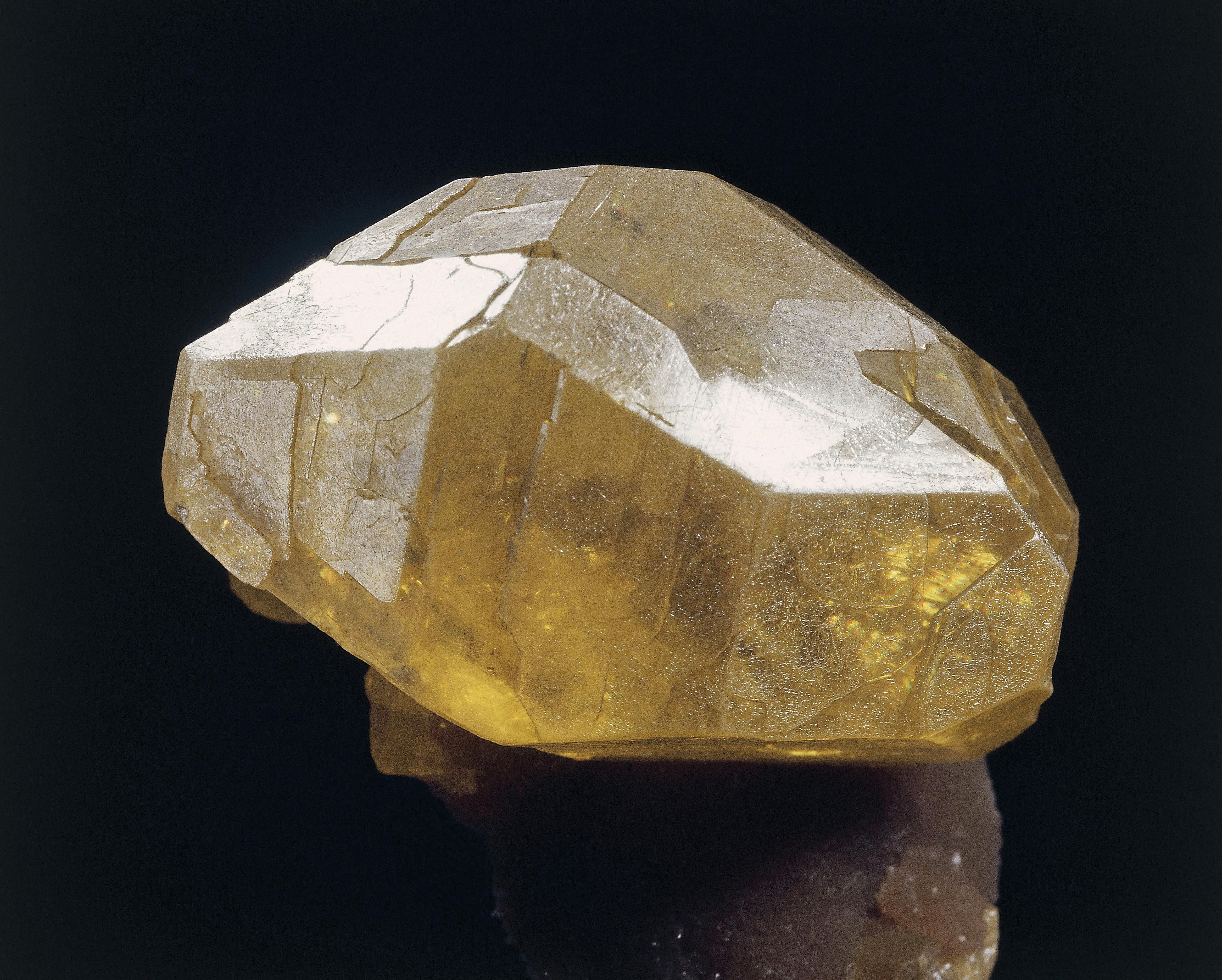This picture shows a crystal of pure sulfur.