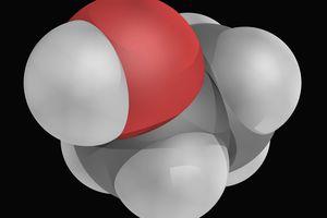 Close up 3D rendering of ethanol molecule.