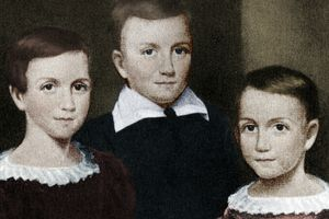Emily Dickinson as a child with siblings
