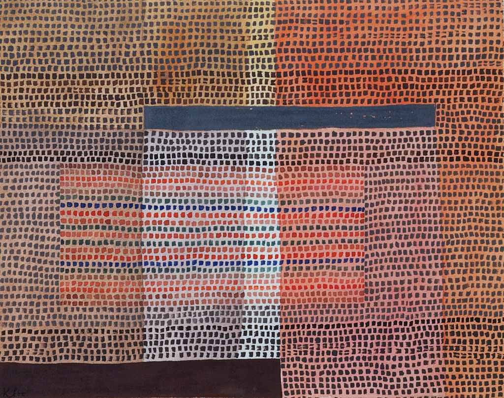 Abstract painting of intersecting grids and squares of different colors, by Paul Klee