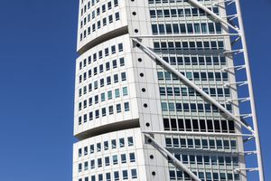 A series of cubes are stacked off-center to form Santiago Calatrava's Turning Torso in Sweden