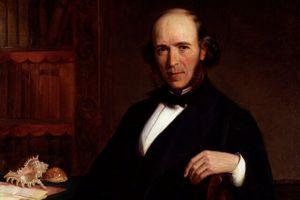 oil painting Herbert Spencer sitting at a desk