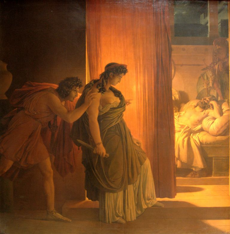 Painting of Clytemnestra hesitating before killing the sleeping Agamemnon.