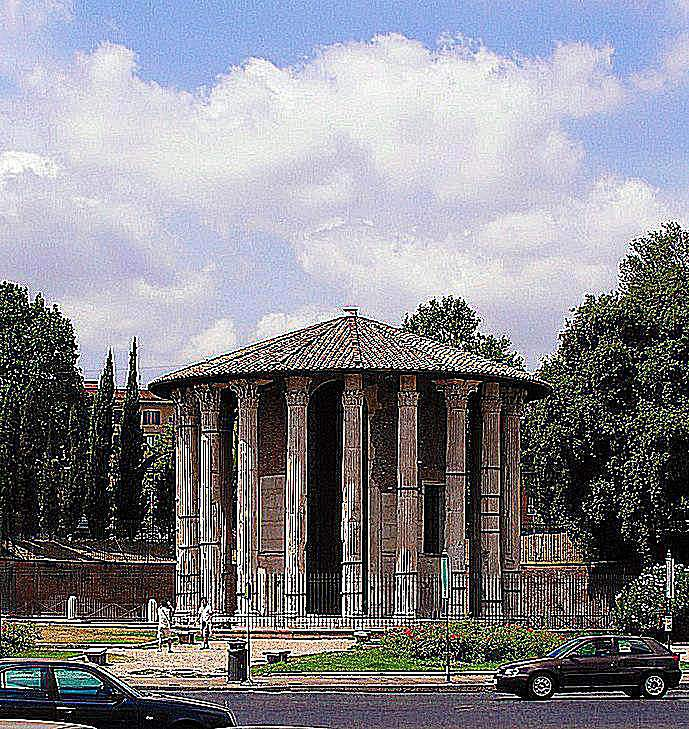 Temple of Hercules Victor in the Forum Boarium in Rome