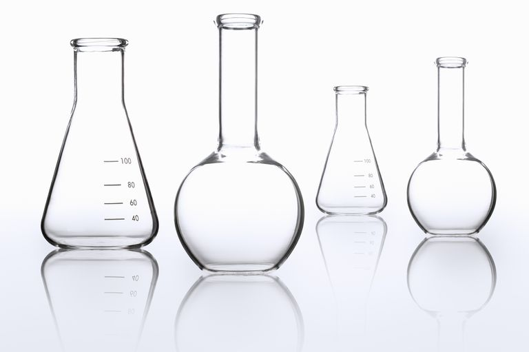 Empty glass beakers and flasks