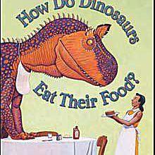 Arte de la portada del libro ilustrado para niños Cómo comen los dinosaurios su comida por Jane Yolen