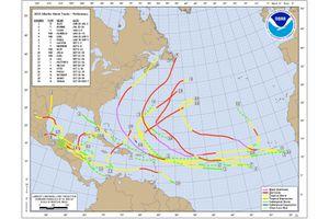 Tropical cyclone tracks of the 2010 Atlantic Hurricane Season.