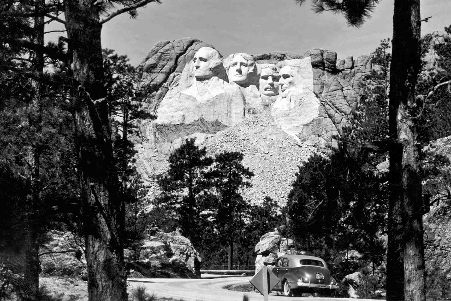 Mt. Rushmore viewed from a road